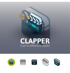 Clapper icon in different style vector image