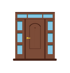classic brown wooden entrance door to house vector image