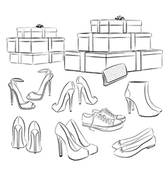 Collection of shoes vector image