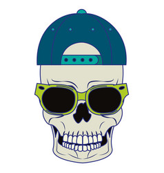 cool skull with sunglasses and hat cartoon blue vector image