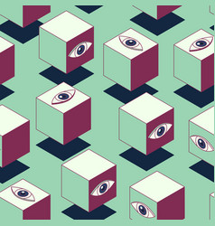 Cube with eyes seamless pattern vector