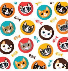 cute cats and fishbone pattern vector image