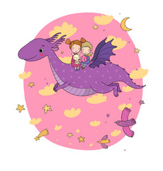 cute little kids are flying a dragon cartoon vector image