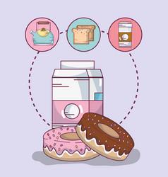 Delicious breakfast cartoons vector