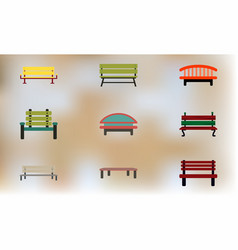 Different kinds of benches icons collection vector