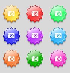 Digital photo camera icon sign symbol on nine wavy vector image vector image