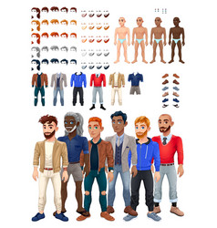 Dresses and hairstyles game with male avatar vector
