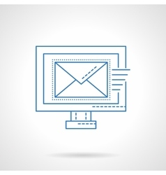 E-mail blue flat line icon vector