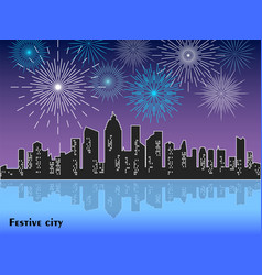 festive fireworks display over night city with vector image