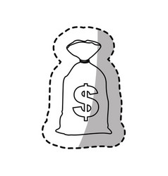 Figure close bank bag with many money inside vector