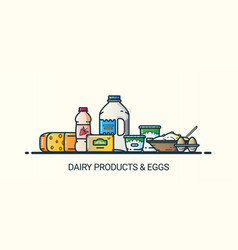 flat line dairy products banner vector image