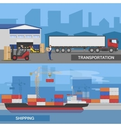 Flat Logistic Panorams Banner Set vector