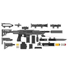 Futuristic sci-fi weapon set to create a rifle vector