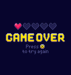 game over screen pixel retro games try again and vector image