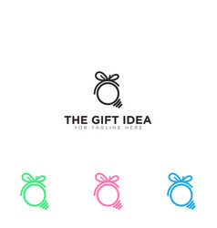 Gift idea logo mono line black lamp vector
