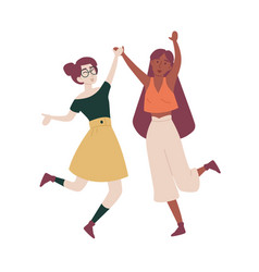 girls with their hands up jumping having fun vector image