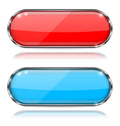 glass buttons red and blue oval 3d buttons with vector image