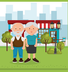 grandparents couple on the street vector image