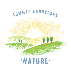 Graphic summer landscape vector