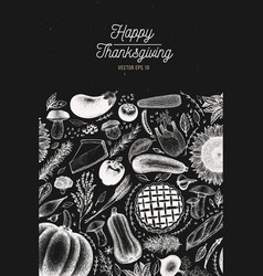 Greeting thanksgiving card in retro style happy vector