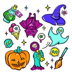 Halloween symbols - isolated stickers set vector