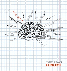 Hand drawn brain on school paper vector image