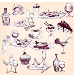 hand drawn set tableware food and drinks vector image