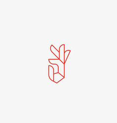 Hand palm ok linear logo design vector