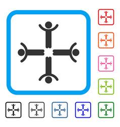 hands up men framed icon vector image