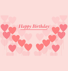 happy birthday balloon heart shape sweet card vector image