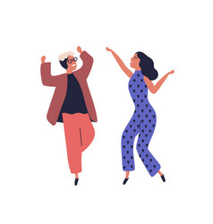 happy couple dancing together having fun raising vector image