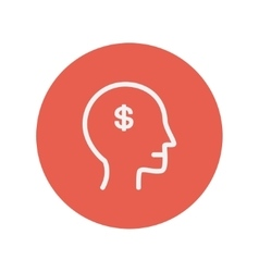 Head with dollar symbol thin line icon vector