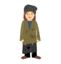 Homeless woman with black eye vector