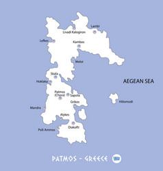 Island of patmos in greece white map and blue vector