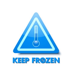 Keep frozen triangular sign with thermometer vector