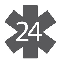 life star glyph icon medical and emblem 24 hours vector image