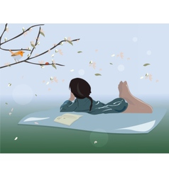Little Girl lying down on grass vector