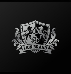 luxury golden royal lion king logo design vector image