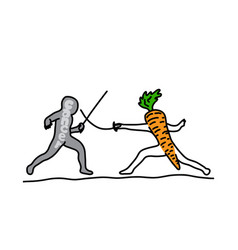 metaphor benefit of carrot is to fighting cancer vector image
