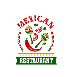 mexican cuisine restaurant emblem with spice food vector image