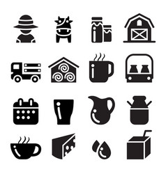 milk icon set vector image