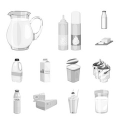 Milk product monochrome icons in set collection vector