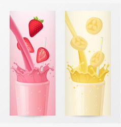 Milkshake banners with strawberry and banana vector