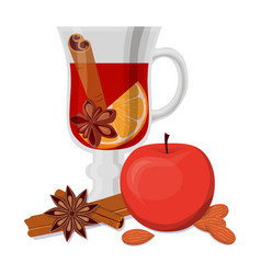 Mulled wine apple and fragrant spices isolated on vector