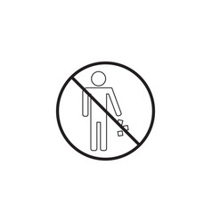 no littering line icon no trash prohibited sign vector image