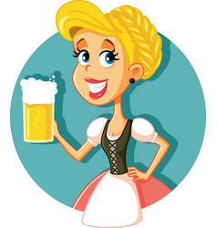 Oktoberfest bavarian girl holding beer mug vector