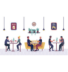 people in bar cafe cartoon couple friends man vector image