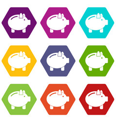 piggy bank icon set color hexahedron vector image