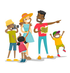 Positive multiracial family traveling together vector