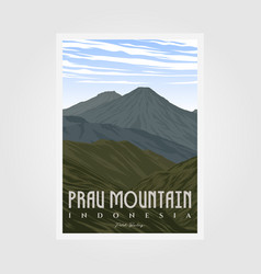 prau mountain camp vintage poster design outdoor vector image